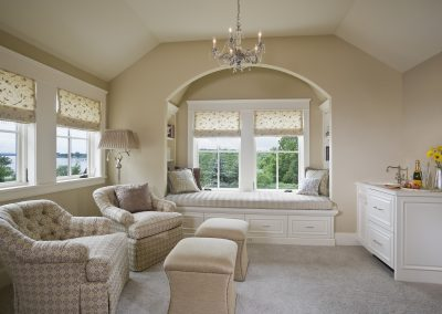 Sitting area of master bedroom suite with chairs for reading